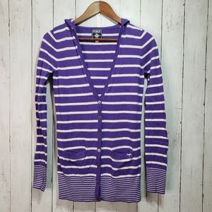 Pink Victorias Secret Purple White Striped Hooded